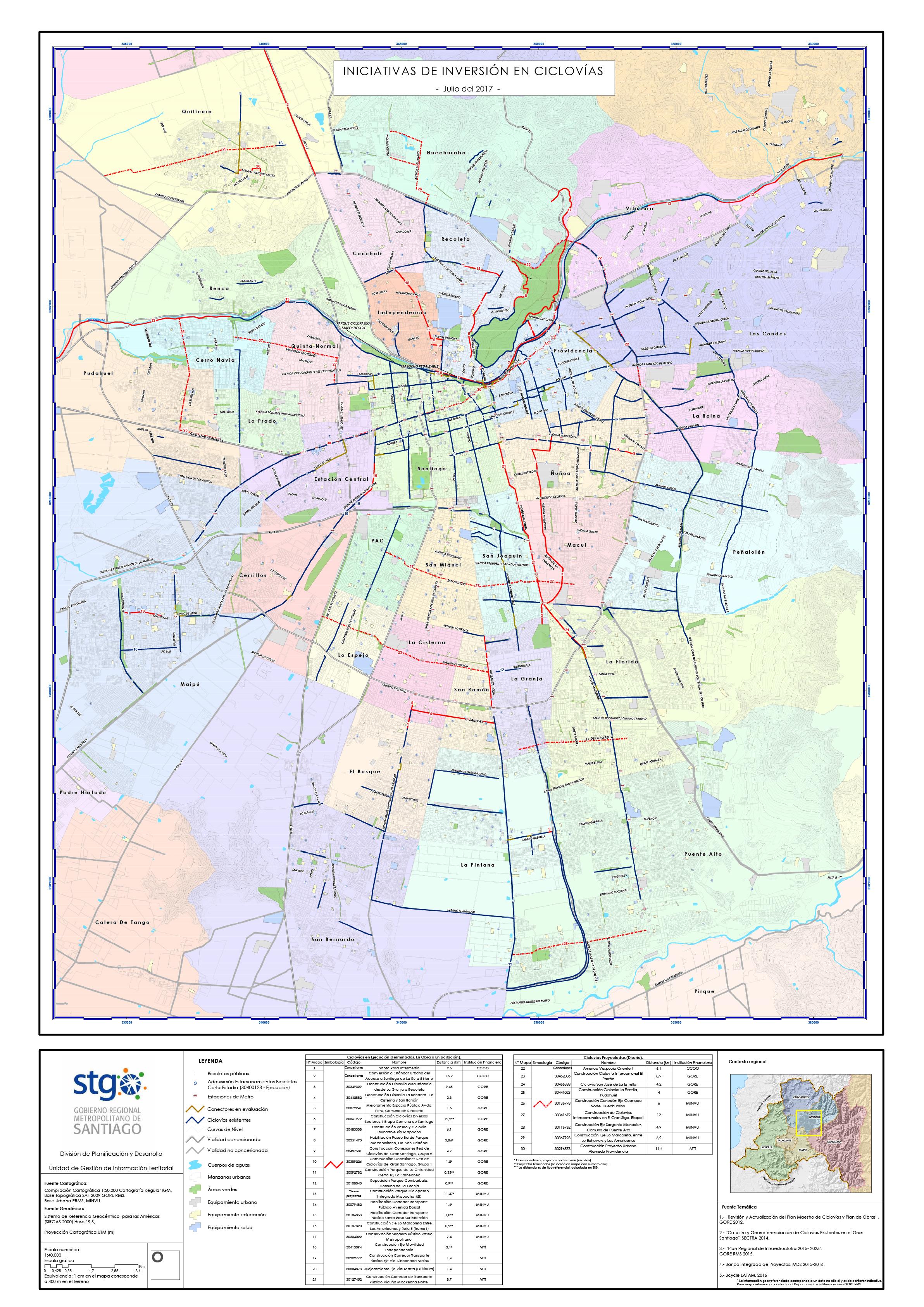 mapa santiago Mapa de Iniciativas de Inversión en Ciclovías, Gran Santiago año  mapa santiago
